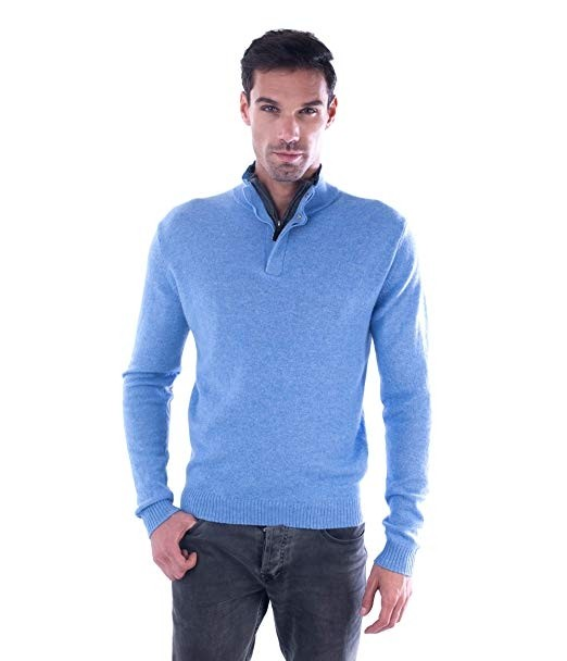 Men's 100% Cashmere Sweater Zipped Collar With Elbow Patches