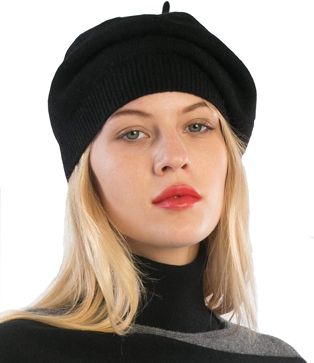 100% Cashmere Beret Hat For Women