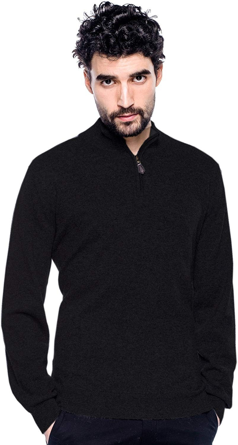 Men's 100% Cashmere Sweater Zipped Collar Pullover With Elbow Patch