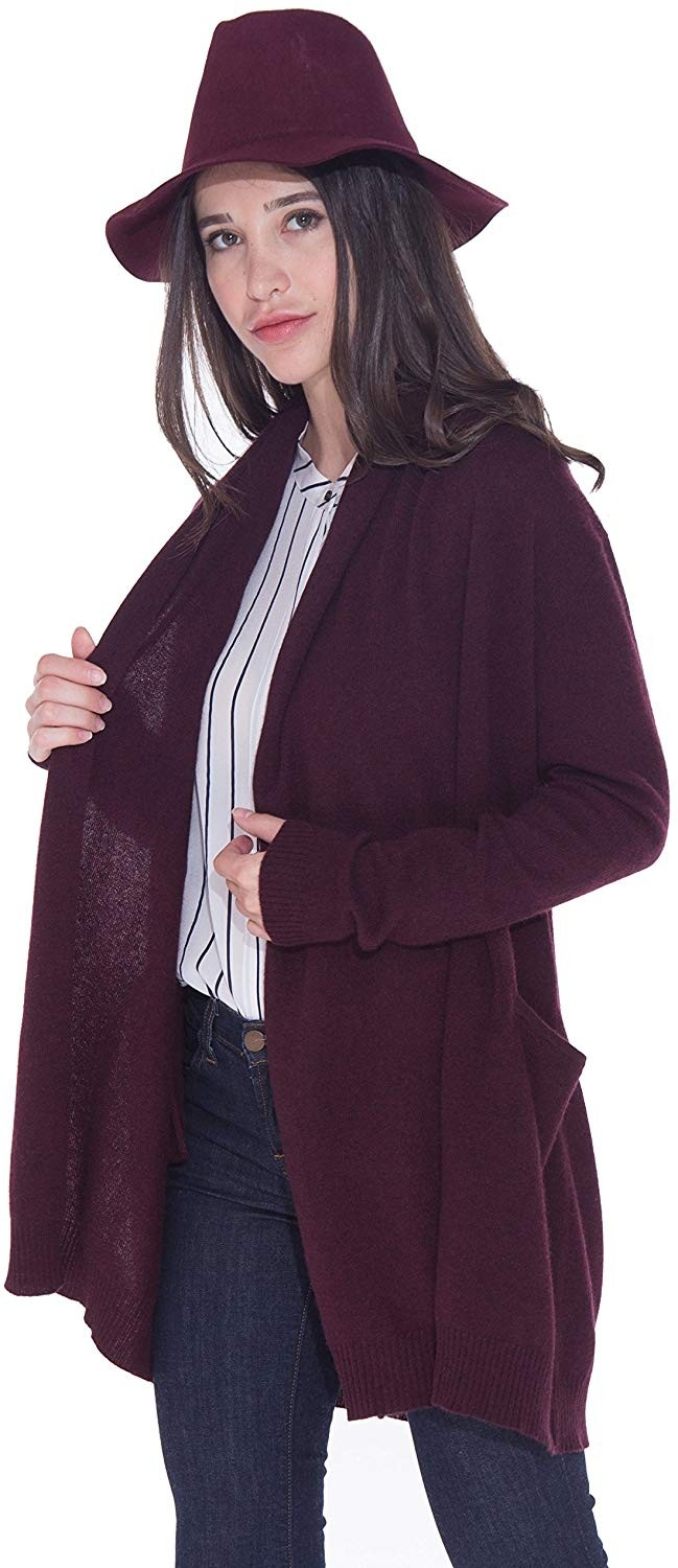 100% Cashmere Open Front Cardigan Coat for Women