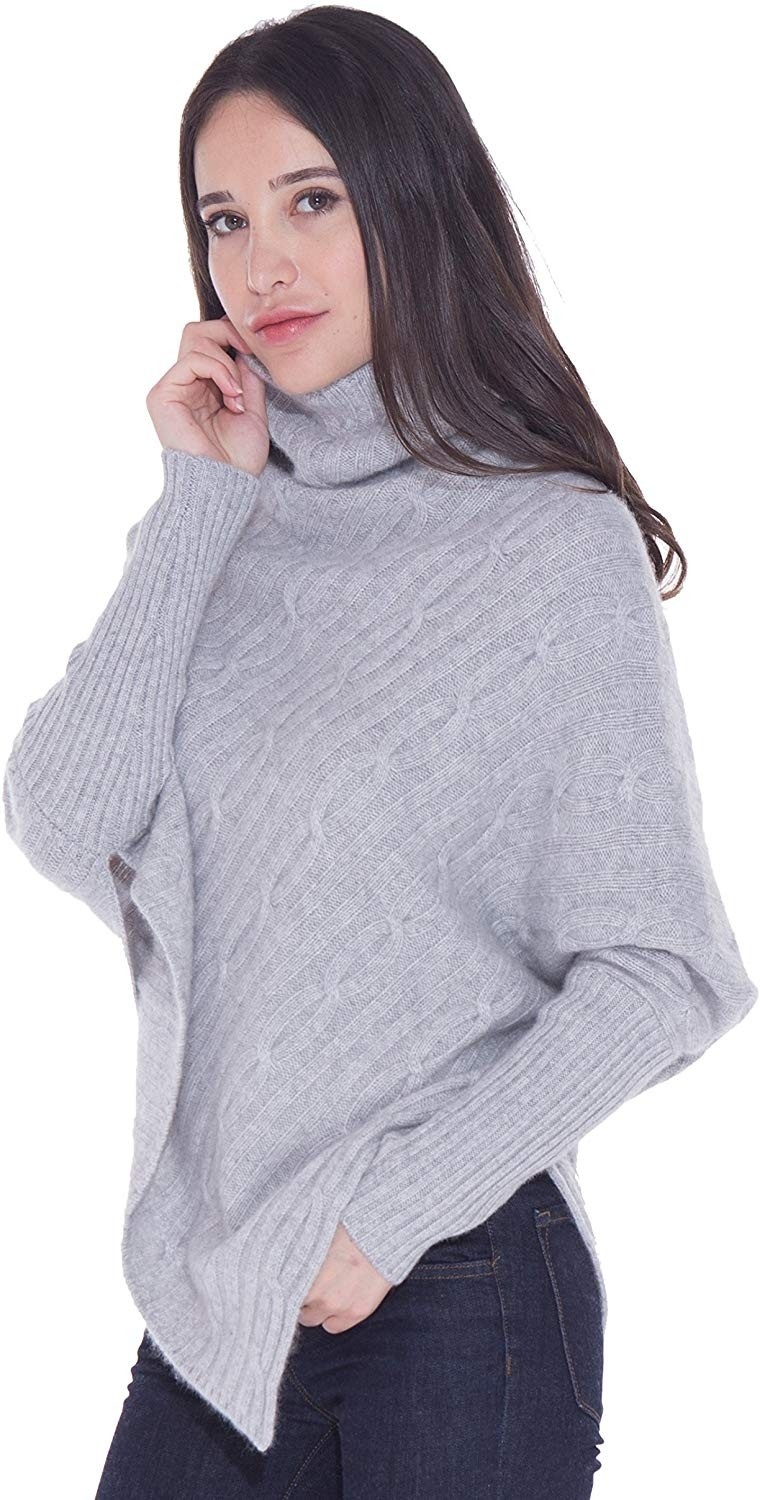 100% Cashmere Poncho Thick Cable Knit Turtleneck Open Side Sweater For Women