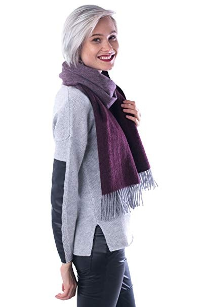 100% Cashmere Scarf Unisex Dual Color Reversible Neck Wrap