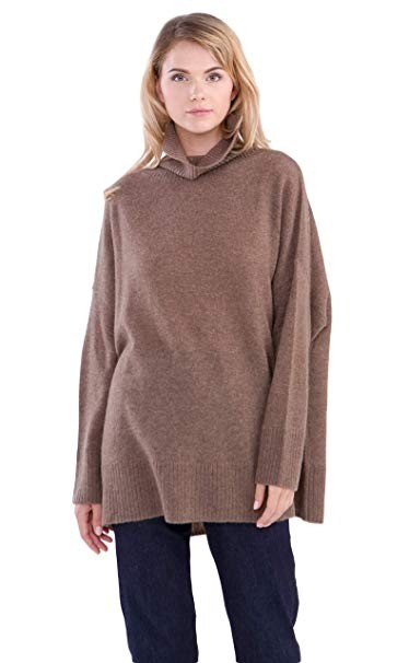 100% Cashmere Turtleneck Oversize Sweater Pullover For Women