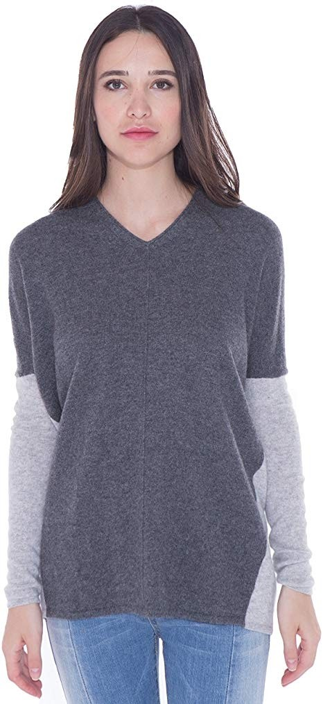 Women's 100% Cashmere V Neck Sweater Loose Fit Stylish Dual Tone Color Pullover