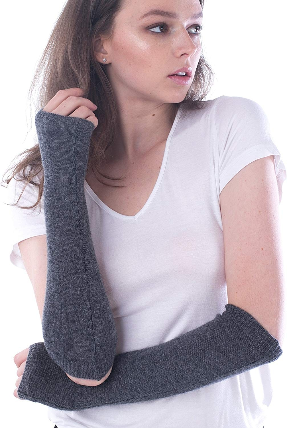 Women's 100% Cashmere Knitted Long Sleeve Fingerless Mitten Gloves