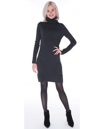 Women's 100% Pure Cashmere Turtleneck Long Sleeve Sweater Dress
