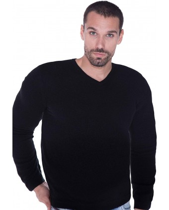 cashmere 4 U Men's Basic V-Neck Sweater 100% Pure Cashmere Long Sleeve Plus Size Pullover for Big and Tall