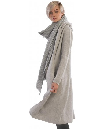 Women's 100% Pure Cashmere Long Coat Cardigan Double Button Full Length Overcoat/Topcoat With Hoodie
