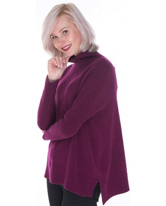 Women's 100% Cashmere Intarsia Knitted Long Sleeve Sweater