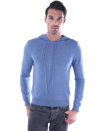 100% Pure Cashmere Drawstring Hoodie Sweater For Men