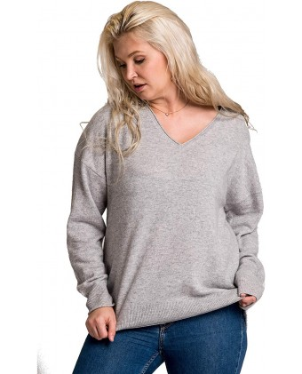 cashmere 4 U 100% Cashmere Plus Size V-Neck Sweater Pullover Tops for Woman